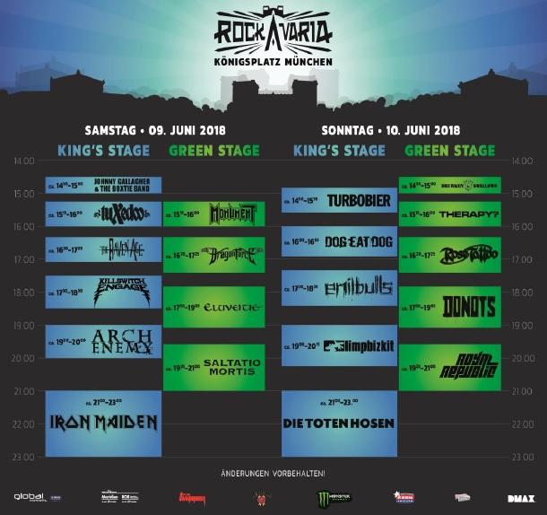 Rockavaria 2018: Band und Bühnen Übersicht
