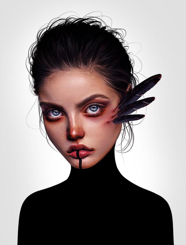 EIn Gemälde der Künstlerin Laura Rubin zeigt eine Junge Dame, aus deren Wangen schwarze Federn wachsen.
